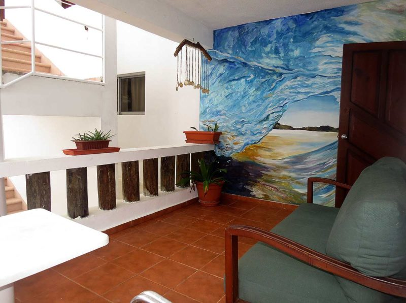 balcony with wave painting at kitebeach hotels